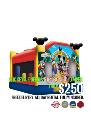 mickey mouse and friends 5 in 1 combo bounce house rental san diego ca