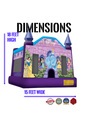 princesses-castle-bounce-house-rental-san-diego-dimensions