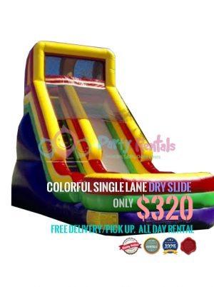 colorful-single-lane-dry-slide-jumper-rental
